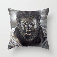 werewolf Throw Pillows featuring Werewolf by Jeff B. Harris