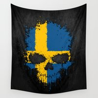 sweden Wall Tapestries featuring Flag of Sweden on a Chaotic Splatter Skull by Jeff Bartels