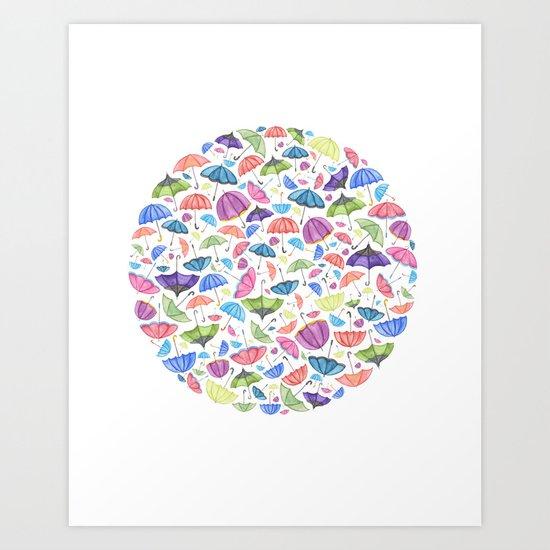 Umbrellas. Art Print