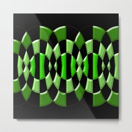 The Green Thang - Abstract Green and Black Retro Design Metal Print