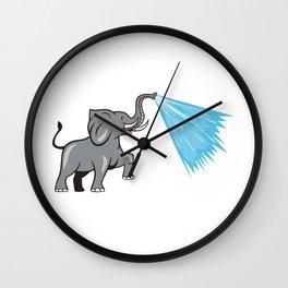 Elephant Marching Spraying Water Cartoon Wall Clock