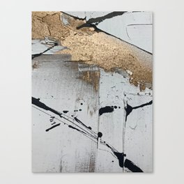 Still: an abstract mixed media piece in black, white, and gold by Alyssa Hamilton Art Canvas Print