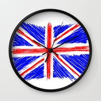 flag Wall Clocks featuring Flag by Svetlana Sewell