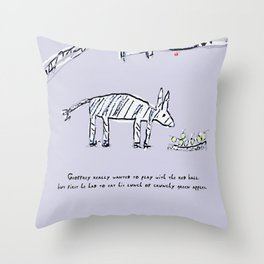 Geoffrey the Zebra-Donkey Cross Tucking into his Lunchtime Snack Throw Pillow