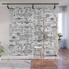 F-18 Blueprints Wall Mural