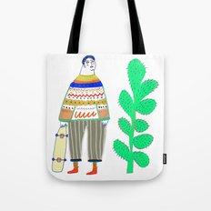 man and cactus. Tote Bag