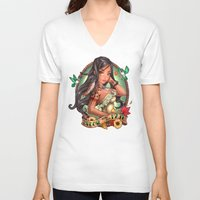 stickers V-neck T-shirts featuring Choose Your Own Path by Tim Shumate