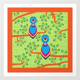 Tropical birds on trees Art Print
