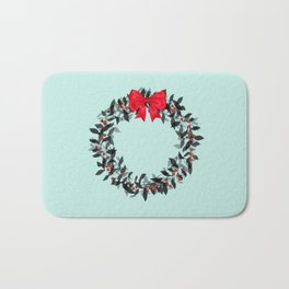 Christmas Wreath with Red Bow #Christmas #holidays Bath Mat