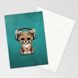Cute Cheetah Cub Dj Wearing Headphones on Blue Stationery Cards