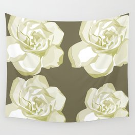 Gray,White Rose background Wall Tapestry