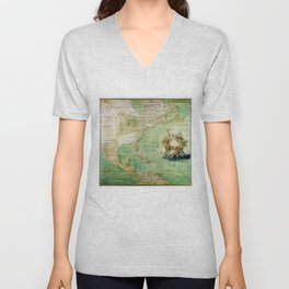 Map of North and Central America (c. 1681) Unisex V-Neck