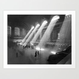New York Grand Central Train Station Terminal Black and White Photography Print Art Print