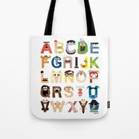twins Tote Bags featuring Muppet Alphabet by Mike Boon