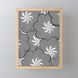 Fun Black and White Flower Pattern - Digital Illustration - Graphic Design Framed Mini Art Print