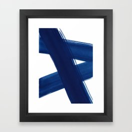 Indigo Abstract Brush Strokes   No. 4 Framed Art Print