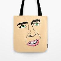 nicolas cage Tote Bags featuring Nicolas Cage  's Face by Froleyboy