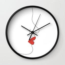 Red kiss Wall Clock
