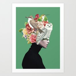 Lady with Birds(portrait) 2 Art Print
