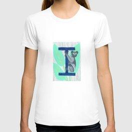 I is for Indri Lemur Letter Alphabet Decor Design Art Pattern T-shirt