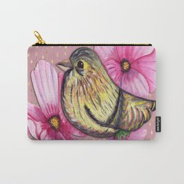 Delicate floral bird on pink and gold raindrop pattern Carry-All Pouch