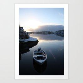 Norwegian Nature -Boat & Snow I Art Print