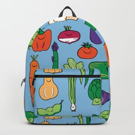 Cute Smiling Happy Veggies on blue background Backpack