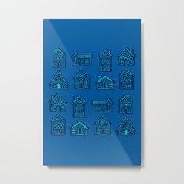 Tiny Houses - Blue Mint Metal Print