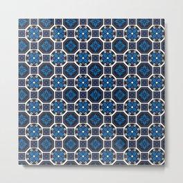 Blue Winter Pattern Metal Print
