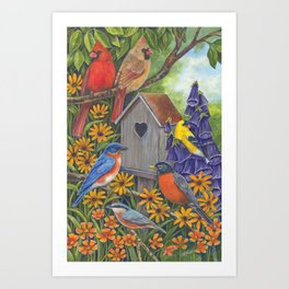 Birds and Birdhouse Art Print