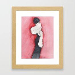 Girl in black dress Framed Art Print