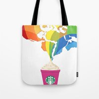 starbucks Tote Bags featuring Starbucks Pop Art by Tiffany Taimoorazy