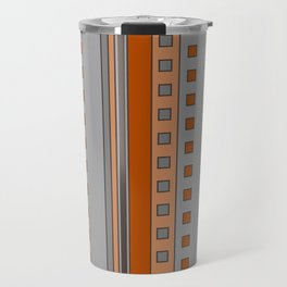 Squares and Stripes in Terracotta and Gray Travel Mug