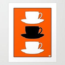 Retro Coffee Print - Black & White Cups on Burnished Orange Background Art Print