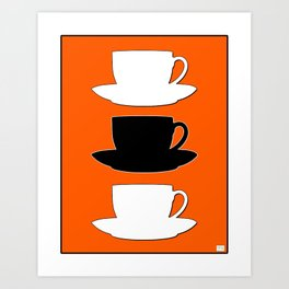Retro Coffee Print - Black & White Cups on Burnished Orange Background Art Print