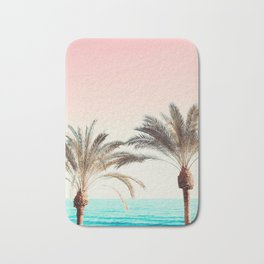 Modern California Vibes pink sky blue seascape tropical palm tree beach photography Bath Mat