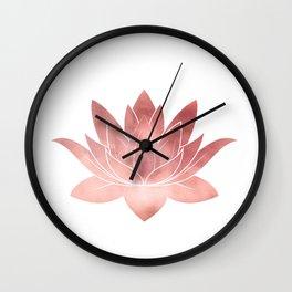 Pink Lotus Flower   Watercolor Texture Wall Clock