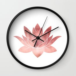 Pink Lotus Flower | Watercolor Texture Wall Clock