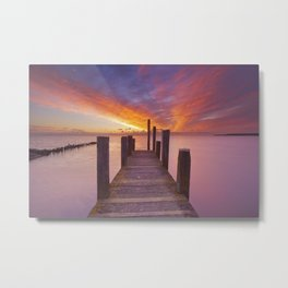 II - Seaside jetty at sunrise on Texel island, The Netherlands Metal Print