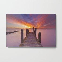 II - Seaside jetty at sunrise on Texel island, The Netherlands Metal Print