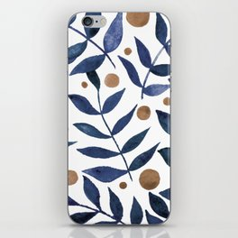 Watercolor berries and branches - indigo and beige iPhone Skin