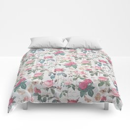 Romantic rustic vintage pink roses typography floral Comforters
