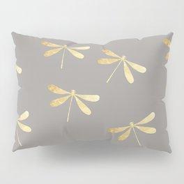 dragonfly pattern: gold & grey Pillow Sham