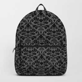 Flourish Damask Big Ptn Black on Gray Backpack