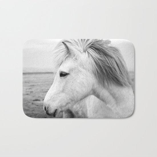 Black and white Horse Bath Mat
