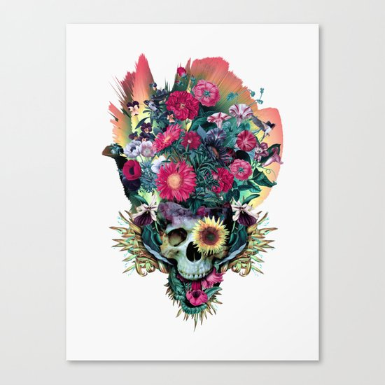 Floral Skull Vivid V Canvas Print