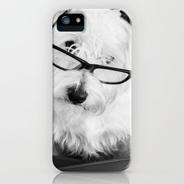 Really? Cute Westie Dog Wearing Glasses iPhone Case