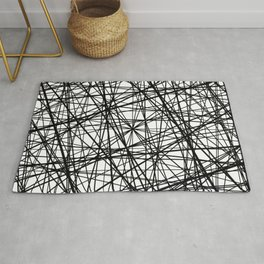 Geometric Collision - Abstract black and white Rug