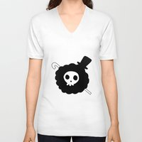 one piece V-neck T-shirts featuring One Piece Brook yohohoho by Limon93