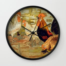 Roosters and hens Wall Clock